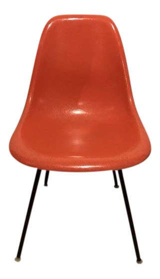 Eames Herman Miller Mid Century Modern Orange Fiberglass Dowel Shell Chair