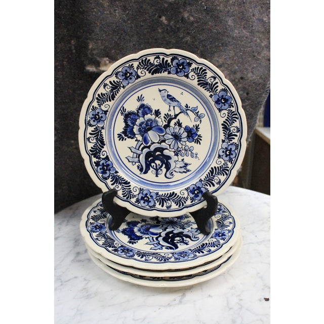 Mid 20th Century Vintage Delft Plates - Set of 4 For Sale - Image 5 of 5