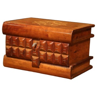 19th Century French Carved Olive Box With Secret Key Hole and Drawer Mechanism For Sale