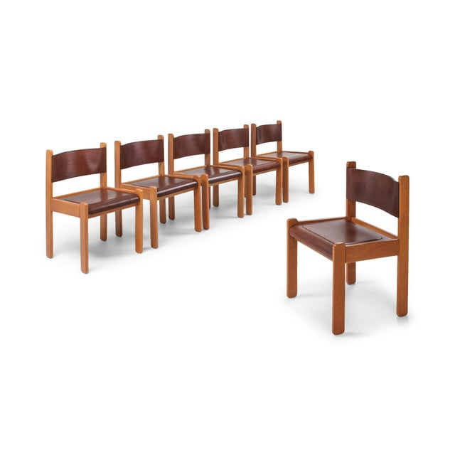 Oak & Leather Dining Chairs For Sale - Image 12 of 12