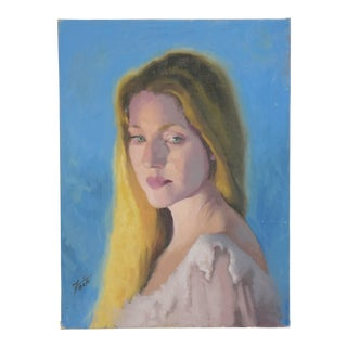 Vintage Female W/ Golden Hair Portrait Oil Painting Study