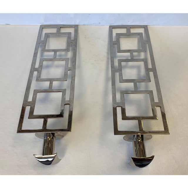 Mid 20th Century Modern Chrome Wall Sconces - a Pair For Sale - Image 5 of 10