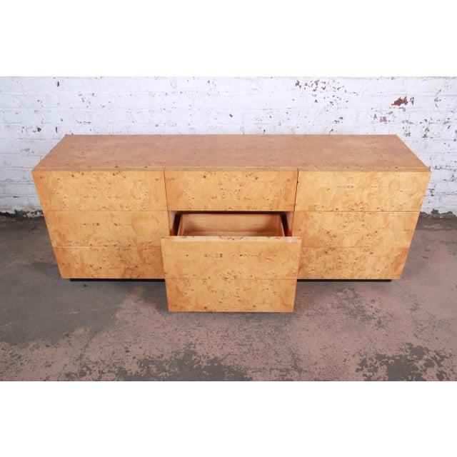 Milo Baughman Burled Olive Wood Long Dresser or Credenza For Sale - Image 9 of 12