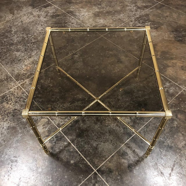 Mid-Century Modern Mid Century Brass Smoked Glass Top End ~ Coffee Table For Sale - Image 3 of 12
