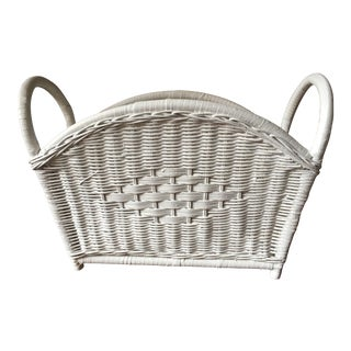 1960s Vintage Wicker Magazine Rack / Storage Basket For Sale