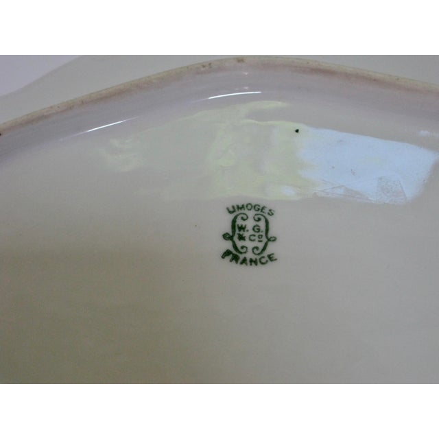 Antique Limoges France Hand Painted Rose Dessert Tray For Sale - Image 5 of 6