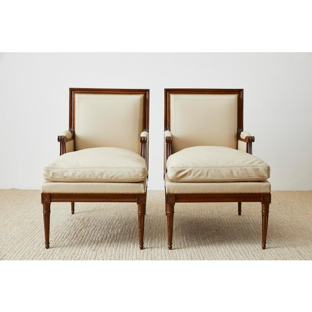 French Maison Jansen Louis XVI Style Long Bergere Armchairs - a Pair For Sale - Image 3 of 13