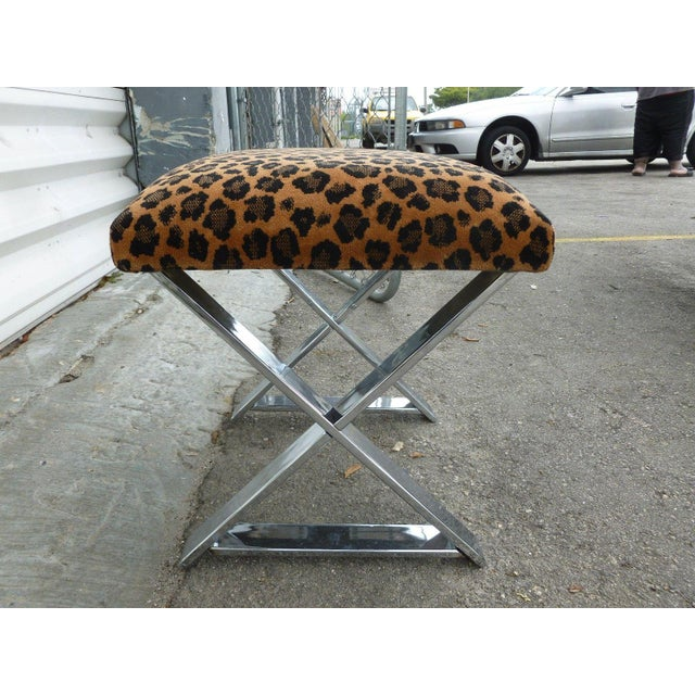 Mid-Century Modern 1970's Vintage Chromed Steel Stretcher Bench For Sale - Image 3 of 5
