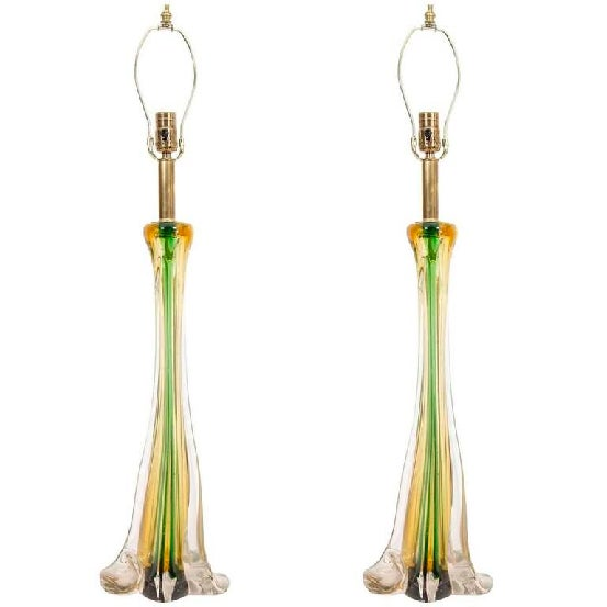 A beautiful pair of Cenedese table lamps in yellow, clear and green swirl Murano glass, circa 1950.