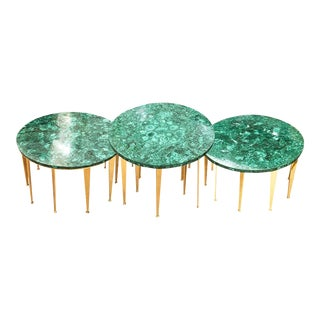 Malachite Coffee Table or Side Tables by formA for Gaspare Asaro For Sale
