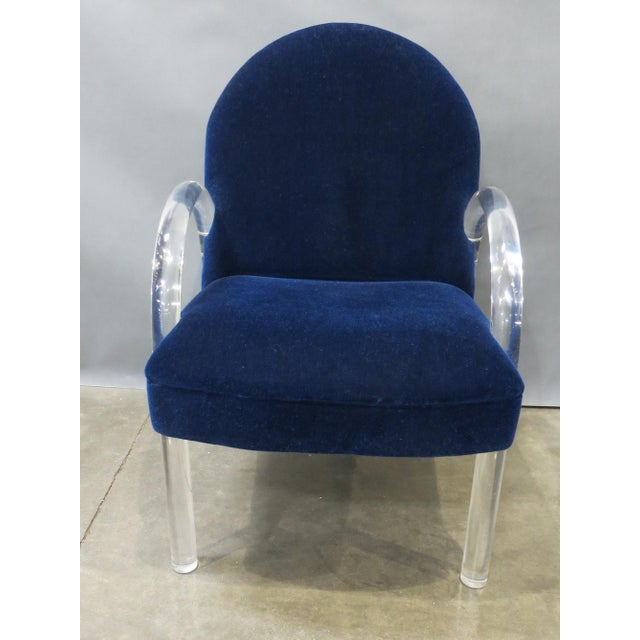 Pair of Pace Collection Lucite Waterfall Dining or Side Chairs Circa 1980 For Sale - Image 9 of 12