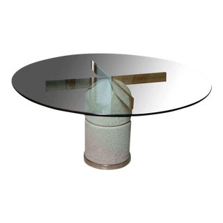 Glass Chrome and Stone Dining/Center Table, Giovanni Offredi For Sale