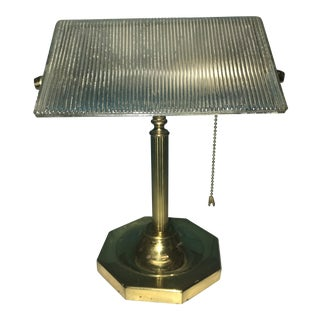 Office or Student Lamp Brass With Hinged Ribbed Glass Shade Vintage For Sale