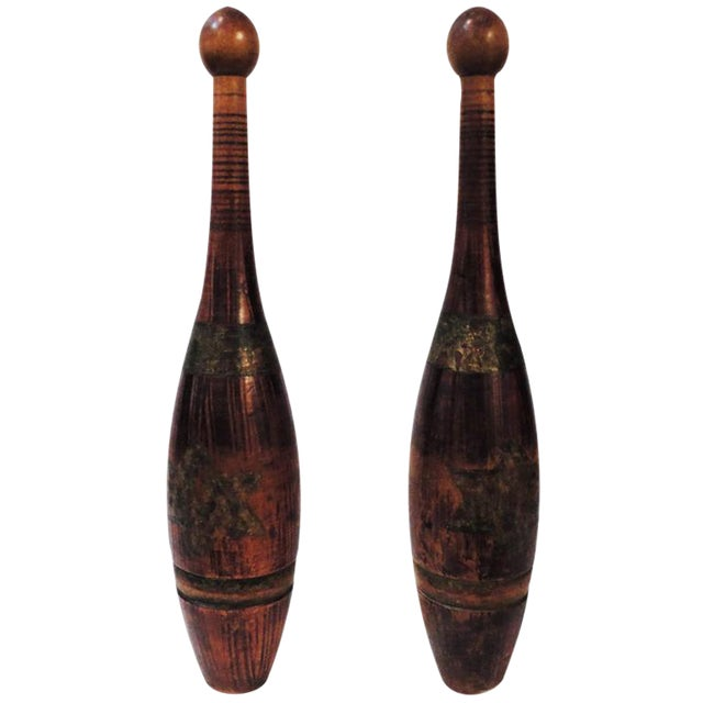 19thc Indian Juggling Pins W/ Original Gilded Painted Stars For Sale