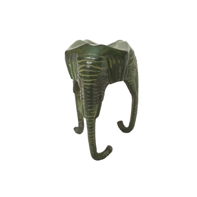 Turquoise Late 20th Century Green Enamel Metal Elephant Cigar Holder For Sale - Image 8 of 8