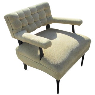 Mid Century Hollywood Regency Tufted Lounge Chair For Sale