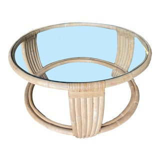 1950s Five Strand Rattan Coffee Table With Glass Top For Sale