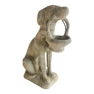 Antique Concrete Dog With Basket Garden Statue For Sale