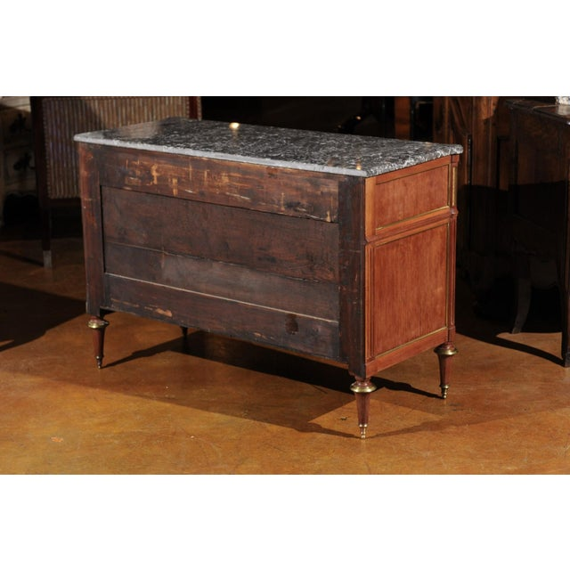 French Louis XVI Style Late 19th Century Grey Marble Top Three-Drawer Commode For Sale - Image 4 of 12