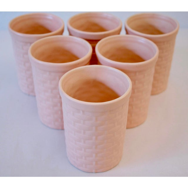 Peach Basketweave Pottery Tumblers - Set of 6 For Sale - Image 4 of 5