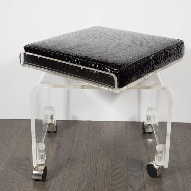 Mid-Century Modern Mid-Century Lucite and Black Faux Crocodile Upholstery Swivel Stool or Bench For Sale - Image 3 of 10