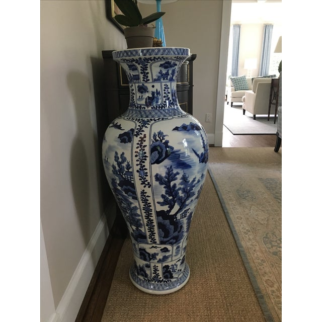 Ming Style Blue and White Floor Vase - Image 4 of 5