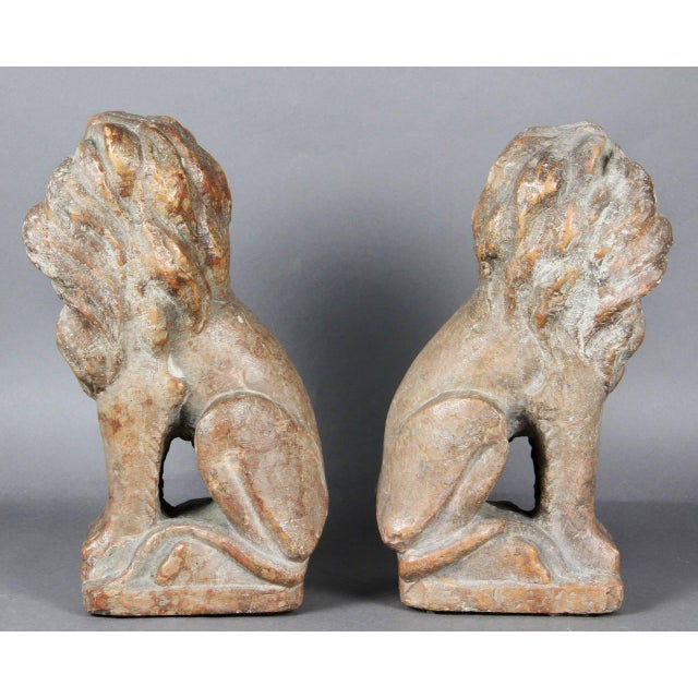 Pair of Italian Verona Marble Lions For Sale - Image 4 of 8