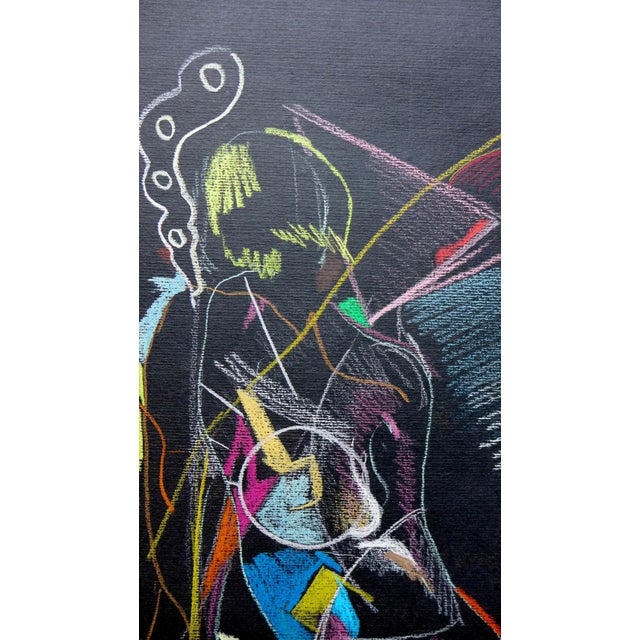 Abstract Pastel on Black Paper - Image 2 of 4