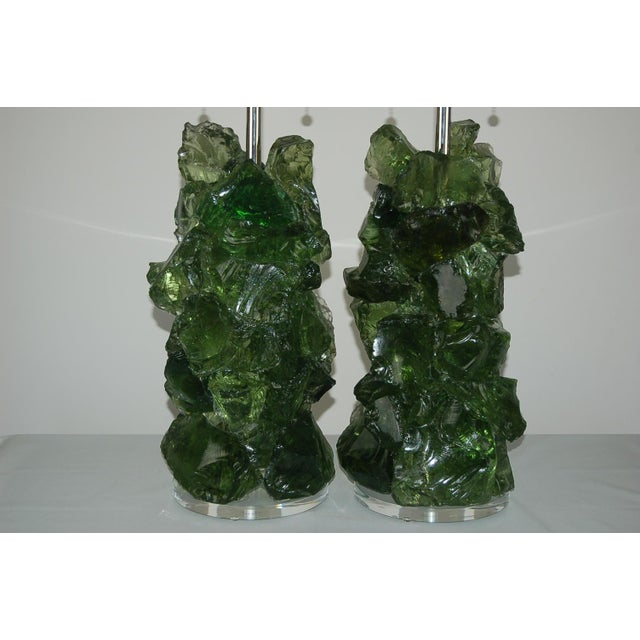 Rock Candy glass table lamps by Swank Lighting! This is a pair of elegant crystal cluster lamps in GRASS GREEN and is made...