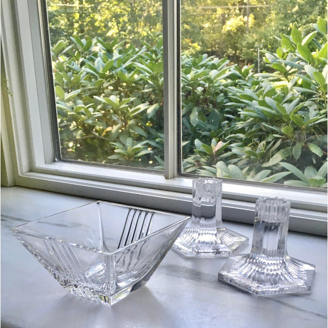 Art Deco Vintage Tiffany Candleholders & Bowl S/3 For Sale - Image 3 of 7