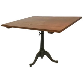 20th Century Industrial Cherry Drafting Table Cast Iron Pedestal Base For Sale