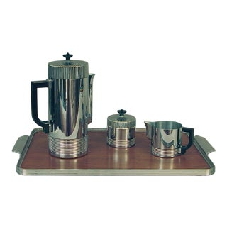 Walter Von Nessen's Continental Coffee Set With Festivity Tray by Chase - Set of 4 For Sale