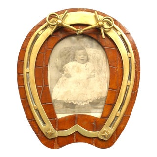 English Victorian Horseshoe Shaped Easel Picture Frame For Sale