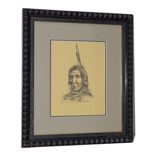 """Ray Swanson """"Native American"""" Original Pen & Ink c.1960s For Sale"""