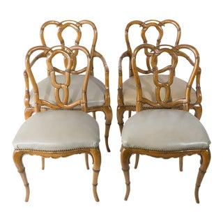 Vintage Faux Bamboo Chairs - Set of 4