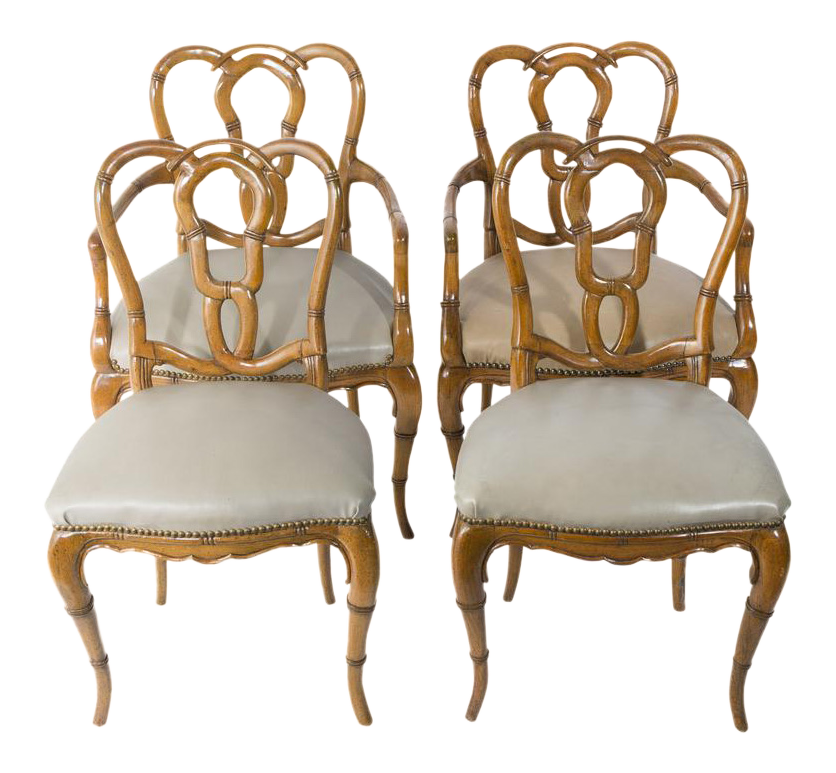 Ordinaire Vintage Faux Bamboo Chairs   Set Of 4