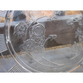 Vintage Federal Glass Rose Cake Plate Preview