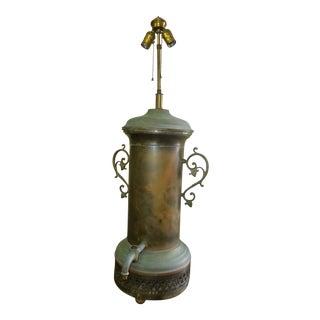 Antique Renaissance Spanish Style Brass Table Lamp With Spout For Sale