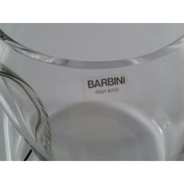 Large Barbini Clear Murano Glass Vase Indented with Black Stripe For Sale In Miami - Image 6 of 12