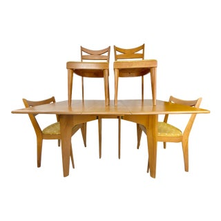 Mid-Century Modern Heywood-Wakefield Dining Table W/ Chairs - 5 Pieces For Sale