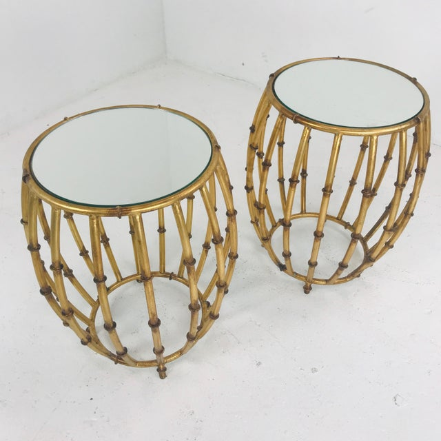 Pair of Gold Faux Bamboo Drum Side Tables With Mirrored Tops For Sale - Image 9 of 12