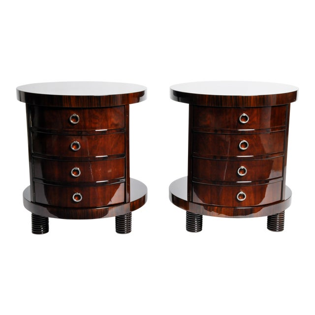 Round Side Table with Shelf- A Pair For Sale