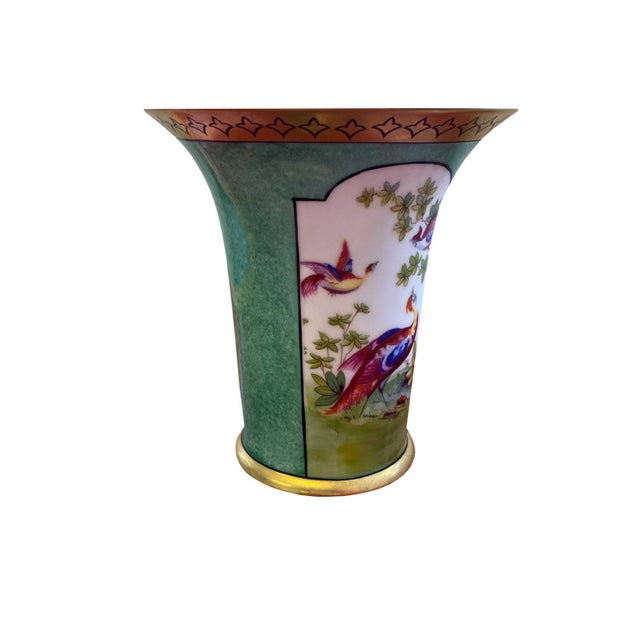 Traditional German Vase With Oriental Pheasants For Sale - Image 3 of 7