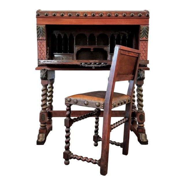 Spanish Colonial Revival Painted Leather and Wood Drop-Front Desk on Stand and Chair For Sale