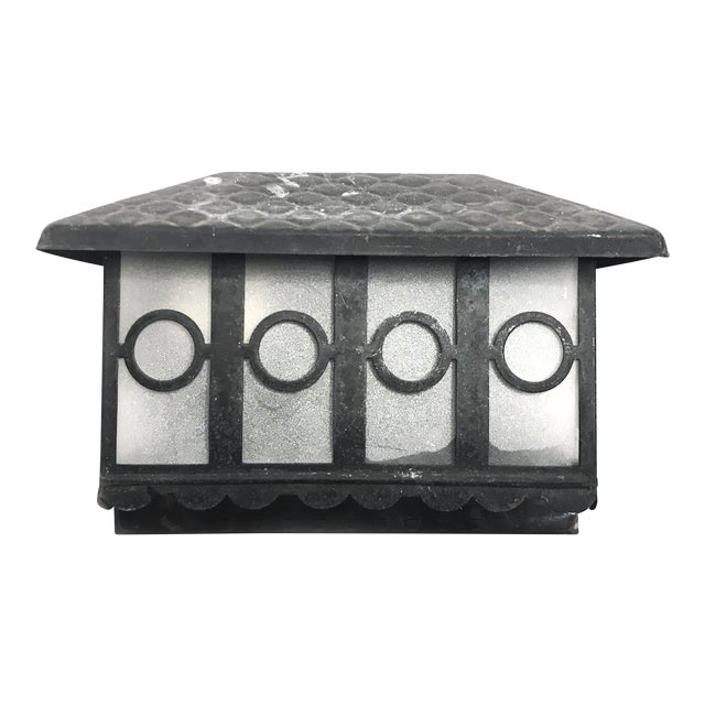 Early 1900's Vintage Craftsman Style Outdoor Wall Mounted Down Light Sconce / Wall Lantern Light Fixture For Sale