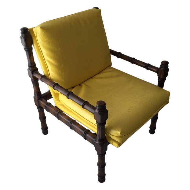 Vintage Bamboo Motif Yellow Chair - Image 1 of 7