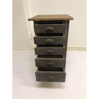 Vintage Industrial Wood 5 Drawer Vertical File Cabinet Preview