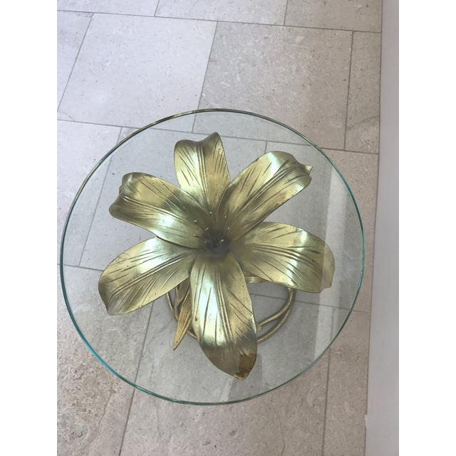 Arthur Court Gilded Lily Table With Glass Top - Image 4 of 10