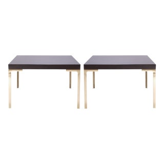 Astor Brass Occasional Tables in Walnut by Montage, Pair For Sale