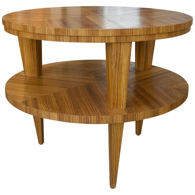 Art Deco Revival Center Table in Exotic Zebrano Wood For Sale - Image 9 of 9